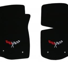 Corvette Floor Mats, 2 Piece Lloyd® Velourtex™, with Cross Flags Logo, Light Oak Carpet, 1968-1982