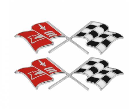 Trim Parts 58-60 Corvette Front Fender X-Flag Emblem, Pair 5155