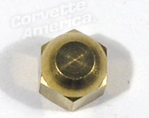 Corvette Air Conditioning Muffler Fitting Cap, Brass Hex Original, 1963-1972