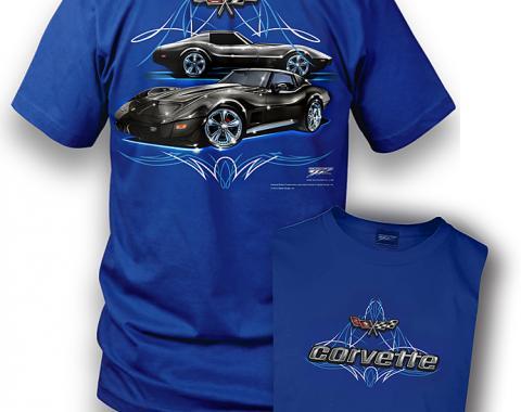 Corvette C3 Shirt, Pinstripe, Royal Blue