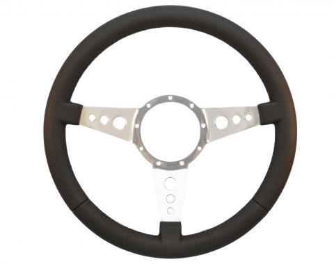 Volante S9 Premium Steering Wheel, with 3 Hole Polished Aluminum Spokes & Leather Grip