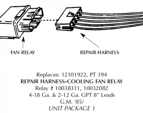 Corvette Repair Harness, Cooling Fan Relay, 1984-1987