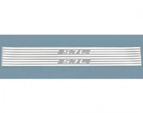 Corvette Fuel Rail Cover Decals, 5.7L & Stripes, Silver Metallic, 1997-2004
