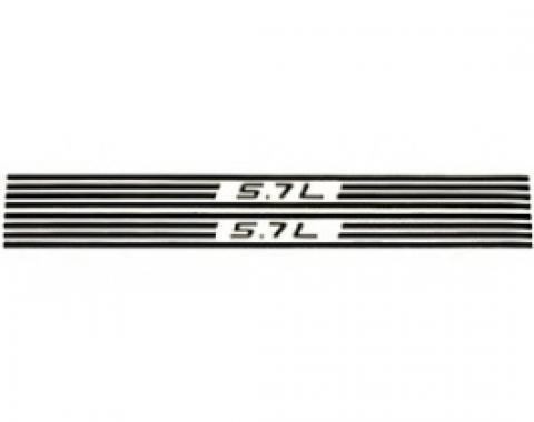 Corvette Fuel Rail Cover Decals, 5.7L & Stripes, Yellow, 1997-2004