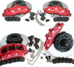 SpeedDirect 1965-1982 Corvette Disc Brake Conversion Kit, Front/Rear, Slotted Rotors & Red Calipers