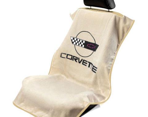 Seat Armour 1984-1996 Corvette Seat Towel, Tan with C4 Logo SA100COR4T