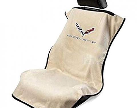 Seat Armour 2014-2019 Corvette Seat Towel, Tan with C7 Logo SA100COR7T