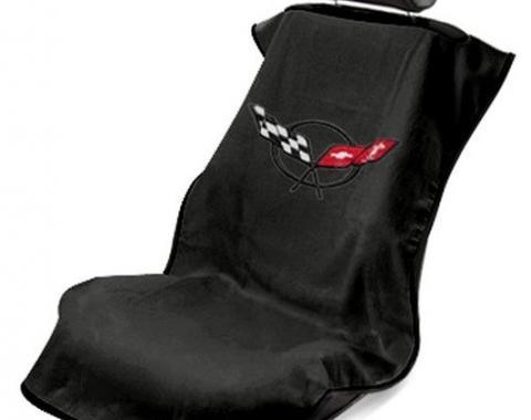 Seat Armour 1997-2004 Corvette Seat Towel, Black with C5 Logo SA100COR5B