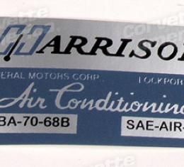 Corvette Decal, Air Conditioning Foil Plate, 1968