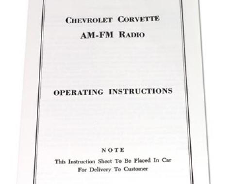 Corvette Instructions, Radio AM/FM, 1963