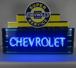 Neonetics Big Neon Signs in Steel Cans, Art Deco Marquee Chevrolet Neon Sign in Steel Can