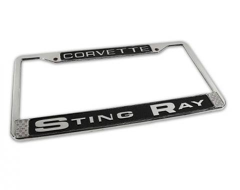 Corvette License Plate Frame, Stingray Chrome, 1963-1976