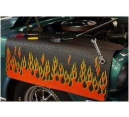 Fender Gripper® Cover, Black With Flames, Orange