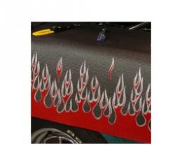 Fender Gripper® Cover, Black With Flames, Red/Siver