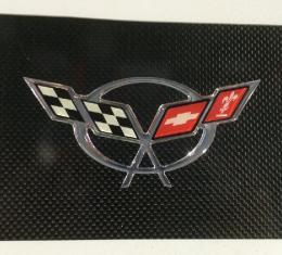 Corvette Exhaust Plate, Carbon Fiber with Yellow C5 Logo, 1997-2004