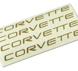 Corvette Wheel Spoke Decal Set, Corvette Gold, 2000-2004