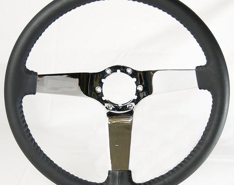 Corvette Volante OE Series Steering Wheel, with Chrome Spokes & Leather Grip, 1977-1982