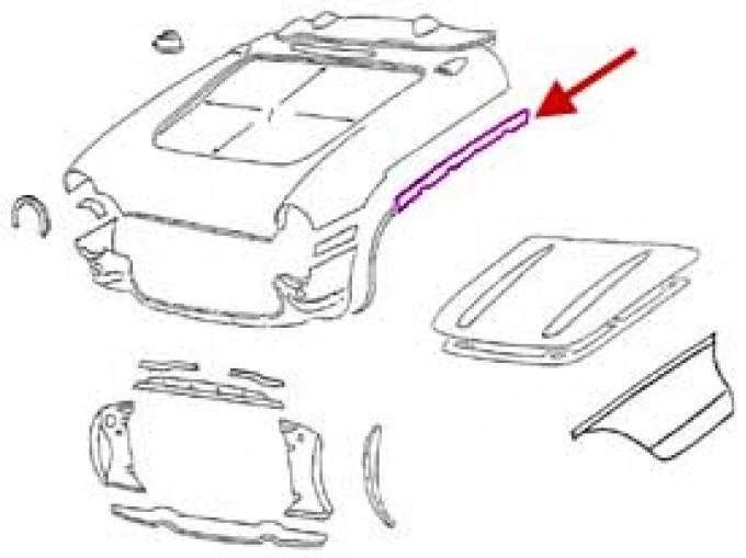 Corvette Bonding Strip, Upper Surround To Side Fender, Left,1956-1957