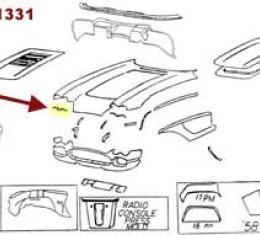 Corvette Headlight Opening Bonding Strip, Upper, Right, 1958-1962