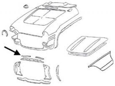Corvette Upper Radiator Support Bonding Strip, Right, 1956-1957