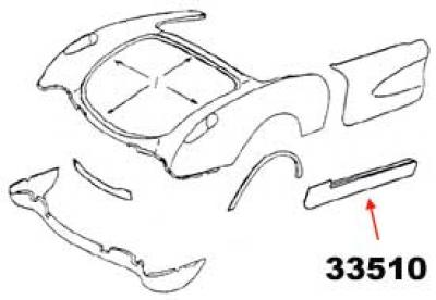 Corvette Rocker Panel, Left, 1956-1960