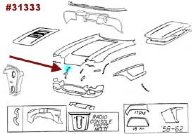 Corvette Bonding Strip, Upper Surround To Inner Fender Skirt, Right, 1958-1962