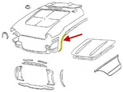 Corvette Wheel Opening Bonding Strip, Front, Left, 1956-1957
