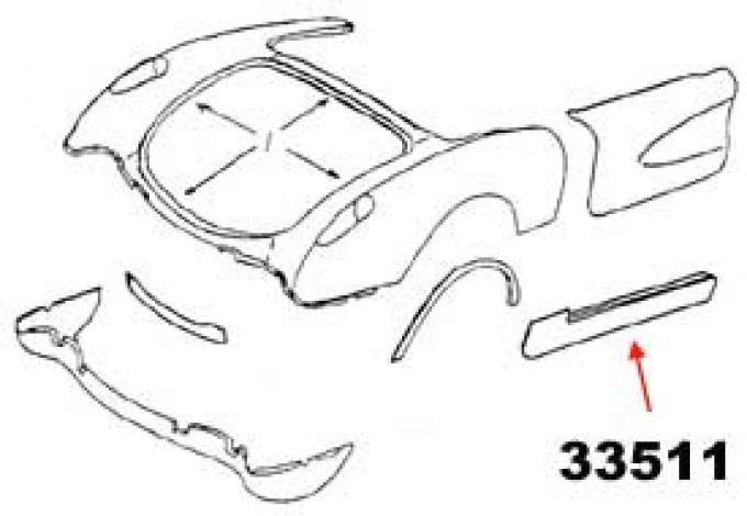Corvette Rocker Panel, Right, 1956-1960