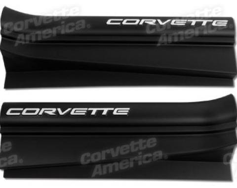 Corvette Sill Ease Protectors, Black, With White Letters, 1997-2004