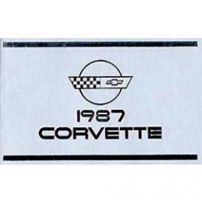 Corvette Owners Manual, 1987