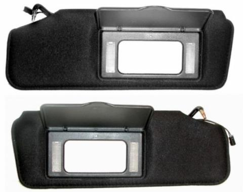 Corvette Sunvisors, With Lighted Vanity Mirrors, Replacement, 1988-1996