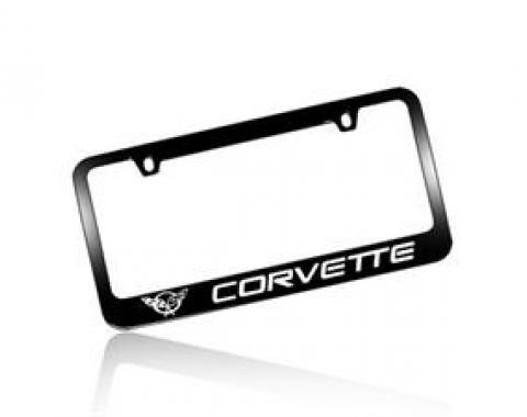 Corvette Elite License Frame, 97-04 Corvette Word with Single Logo Black