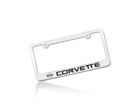 Corvette Elite License Frame, 84-96 Corvette Word with Single Logo