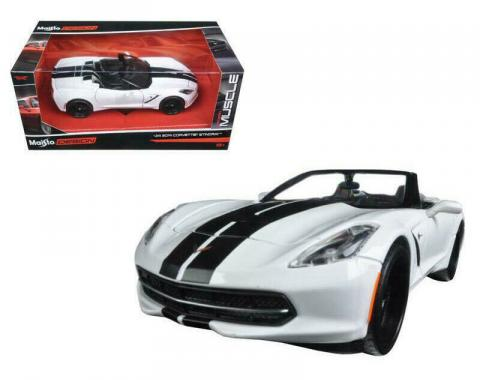 2014 Chevrolet Corvette Stingray White Convertible with Stripes 1/24 Diecast