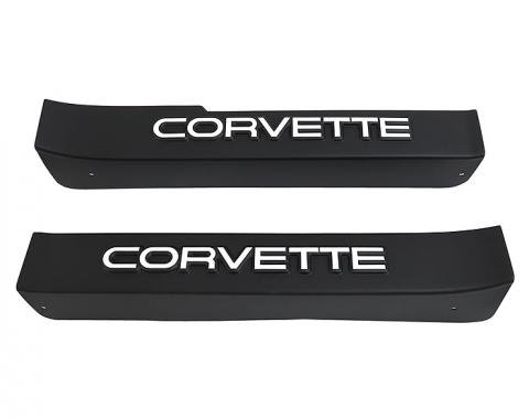 Corvette Sill Ease Protectors, Black, With White Letters, 1984-1987