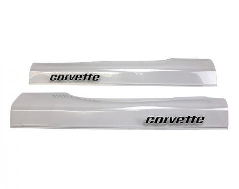 Corvette Sill Ease Protectors, Clear, With Black Letters, 1978-1982