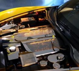 Corvette Plenum Cover PerforatedIlluminated Low Profile 2008-2013 C6+GS, Blue LED