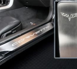 Corvette Full Length Outer Doorsills Laser Etched 2Pc 2005-2013 C6, Brushed