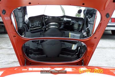 Corvette Hood Panel Polished 2Pc 2005-2013 C6 all, Polished with No Flames