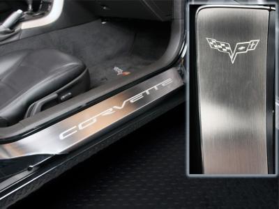 Corvette Full Length Outer Doorsills Laser Etched 2Pc 2005-2013 C6, Brushed
