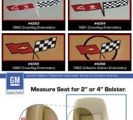 "Corvette America 1982 Chevrolet Corvette Embroidered Leather Seat Covers Leather/Vinyl Original 2"" Bolster 419946E | 82 Dark Blue"