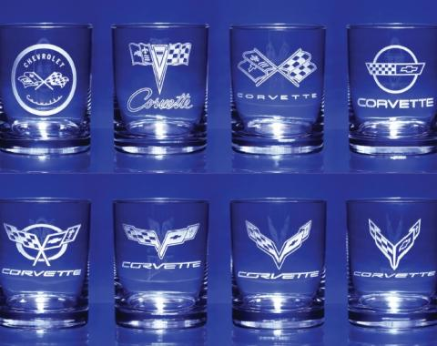 Corvette Glass 'Generations' Set of Eight 13 Ounce Glasses,1953 to 2020 Corvette Designs