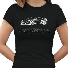 "Corvette Depot ""Uncorvettable"" Ladies Tee, with 8th Generation Corvette, Black"