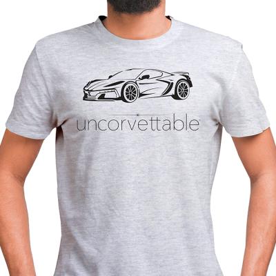 "Corvette Depot ""Uncorvettable"" Unisex Tee, with 8th Generation Corvette, Ash Gray"