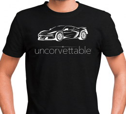 "Corvette Depot ""Uncorvettable"" Unisex Tee, with 8th Generation Corvette, Black"