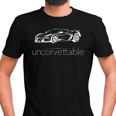 "Corvette Depot ""Uncorvettable"" Unisex Tee, with 8th Generation Corvette, Black"