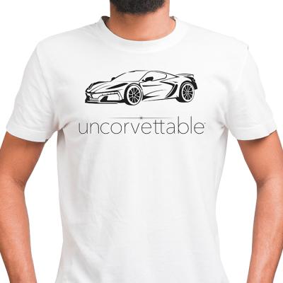 "Corvette Depot ""Uncorvettable"" Unisex Tee, with 8th Generation Corvette, White"