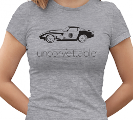 "Corvette Depot ""Uncorvettable"" Ladies Tee, with 3rd Generation Corvette, Heather Gray"