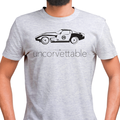 "Corvette Depot ""Uncorvettable"" Unisex Tee, with 3rd Generation Corvette, Ash Gray"