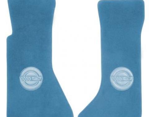 Corvette Floor Mats, 2 Piece ACC Cut Pile, with Embossed Emblem, Blue (74), 1986-1989